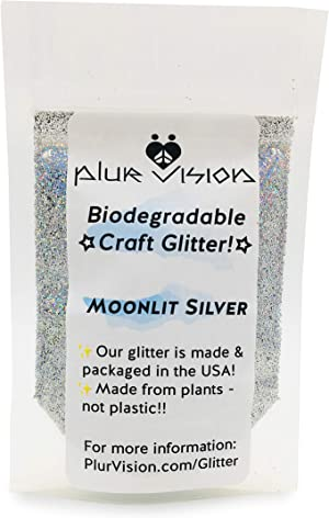 Moonlit Silver Biodegradable Glitter 1/2 Ounce - Made from Plant Cellulose, Earth Friendly. Perfect for Crafts, DIY Projects, Even Body, Cosmetics. Can be Mixed with Adhesives, Paints, Gels, Oils