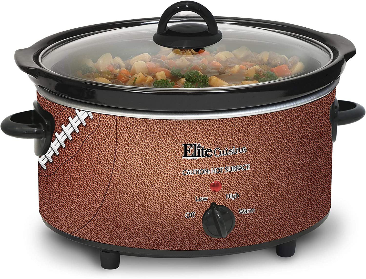 Elite Cuisine MST-500FB Football Electric Slow Cooker, Adjustable Temp Entrees, Sauces, Stews & Dips, Dishwasher-Safe Glass Lid & Ceramic Pot, 5 quart Capacity,