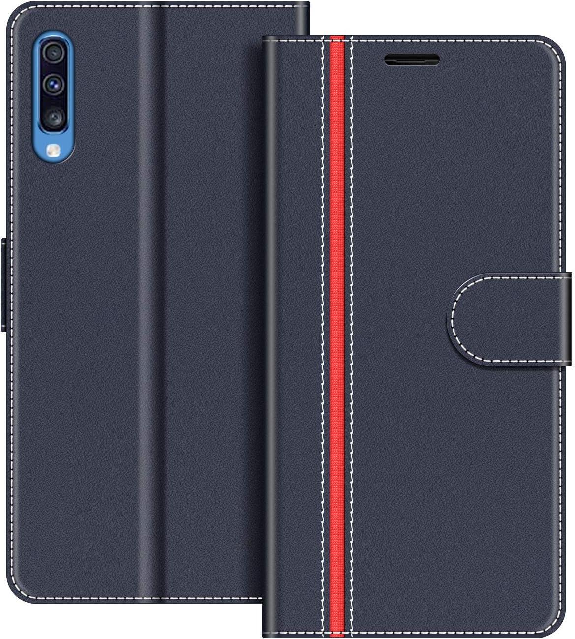 COODIO Funda Samsung Galaxy A70 con Tapa, Funda Movil Samsung A70, Funda Libro Galaxy A70 Carcasa Magnético Funda para Samsung Galaxy A70, Azul Oscuro/Rojo