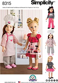 """product image for Simplicity Chef 18"""" Doll Clothes Sewing Patterns by Carla Reiss, One Size"""