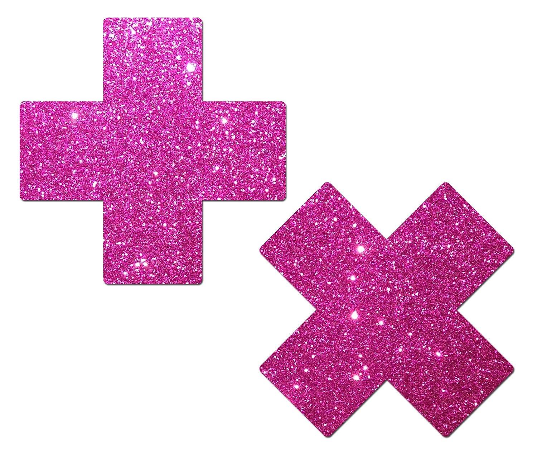 Pastease Damen Plus X: Glitter hell rosa Kreuz Nippel Pasties PLS-GLT-HPK
