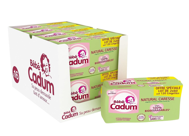 Cadum Bébé - Lingettes Natural Caresse - 960 Lingettes (8 lots de 120) 3760099591335