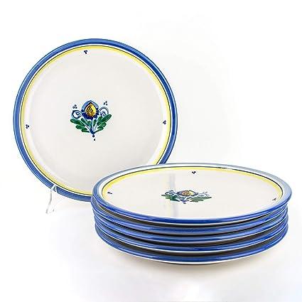Piatti Ceramica Di Caltagirone.Set 6 Piatti Pizza Fatti A Mano In Ceramica Di Caltagirone Piatti