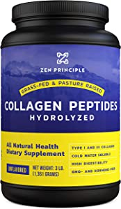 Extra Large Grass-Fed Collagen Peptides 3 lb. Custom Anti-Aging Hydrolyzed Protein Powder for Healthy Hair, Skin, Joints & Nails. Paleo and Keto Friendly, GMO and Gluten Free, Pasture-Raised Bovine.