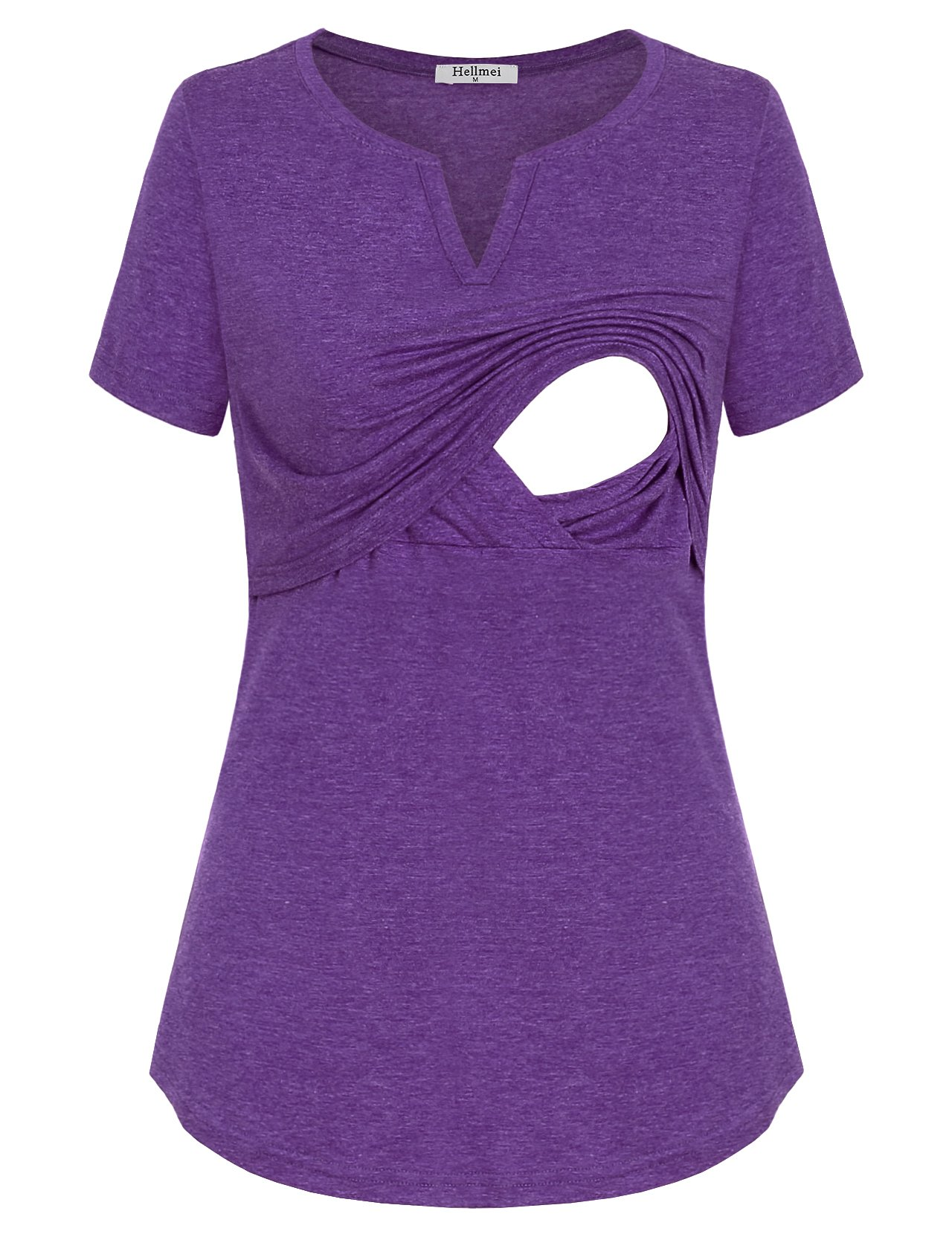Hellmei Nursing Clothes for Breastfeeding, Short Sleeve Maternity Shirt Tunic Feeding Flattering Cotton Blend Trapeze Double Layered Tops Pregnancy Nursing Outfits for Women Violet Large