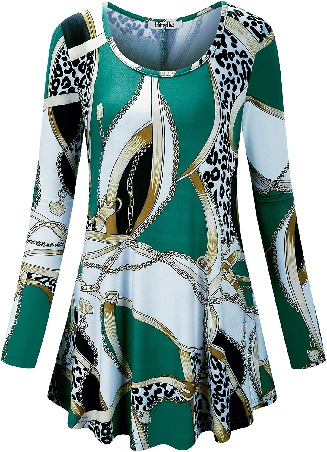 Hibelle Women's Scoop Neck Long Sleeve Casual Printed Flared Basic Tunic Tops