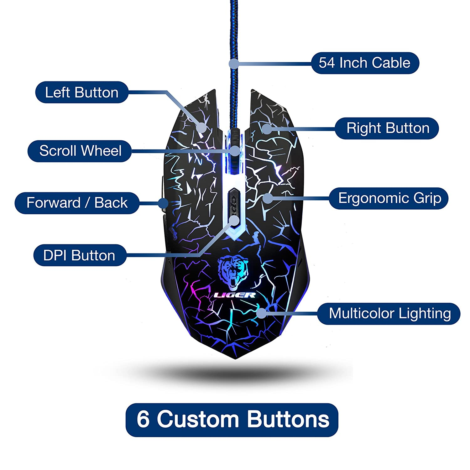 Liger Gaming Mouse Game Mice For Pc Computer Diagram 6 Buttons Up To 3200 Dpi Adjustable Switch Function 7 Lighting Color