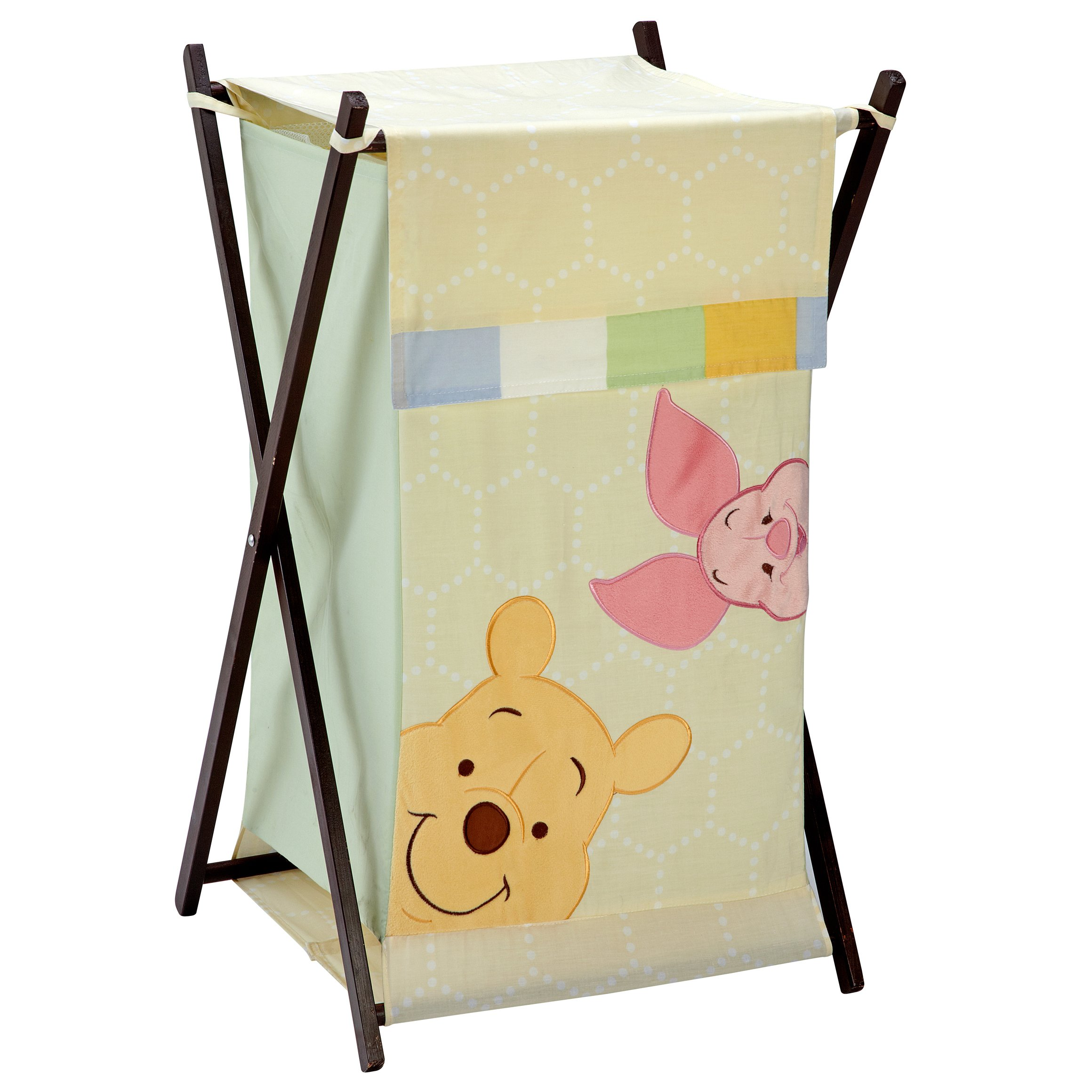 Disney Winnie the Peeking Pooh Appliqued Folding Hamper with Mesh Bag, Ivory, Yellow