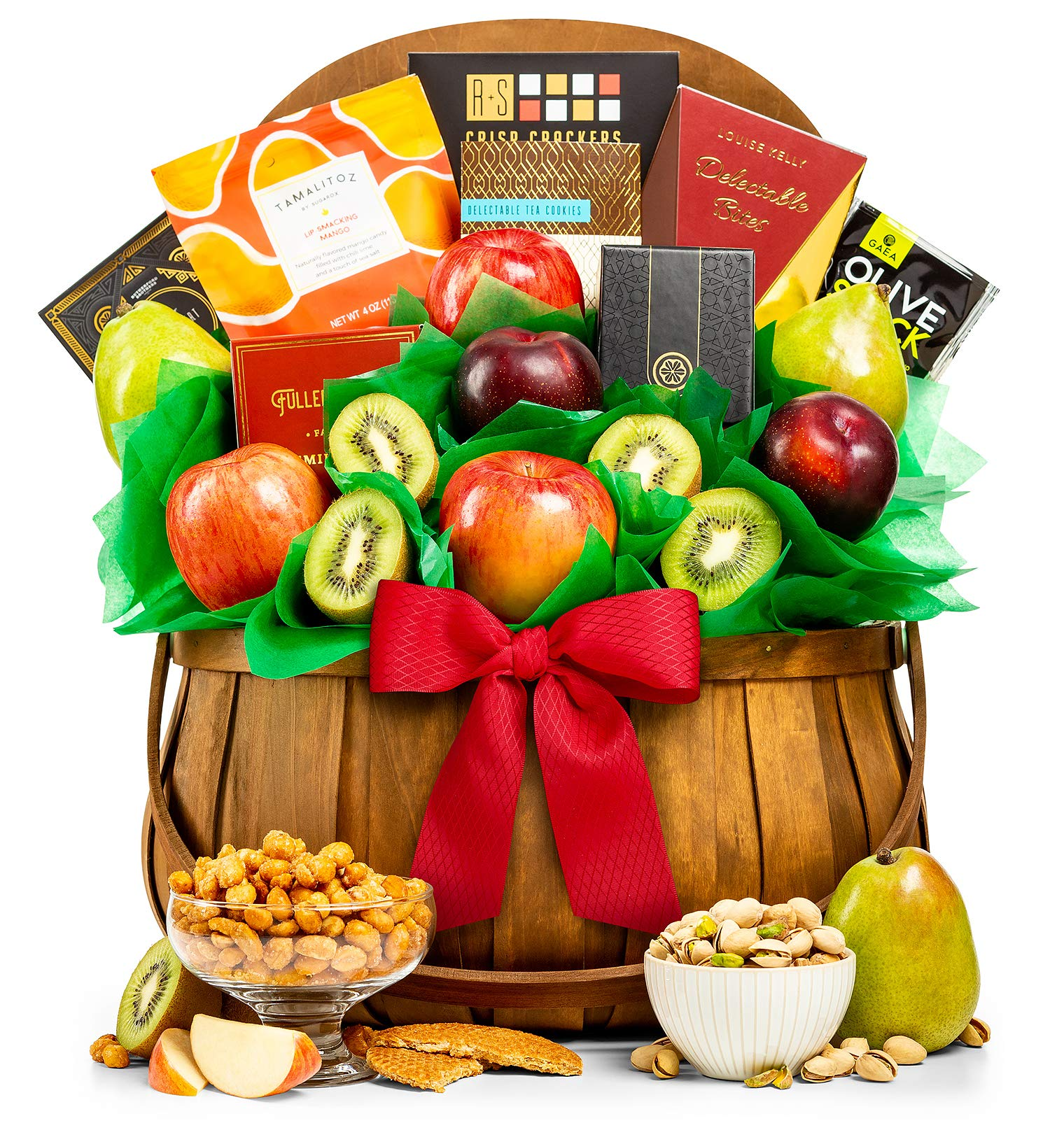 GiftTree Orchard Harvest Nuts and Fresh Fruit Basket | Gift-Grade Pears, Apples, Kiwis and Plums | Reusable Barrel Picnic Basket | Perfect Gift for Holidays, Christmas, Thank You
