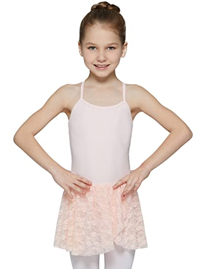a9901510573a MdnMd Girls  Lace Skirted Camisole Leotard