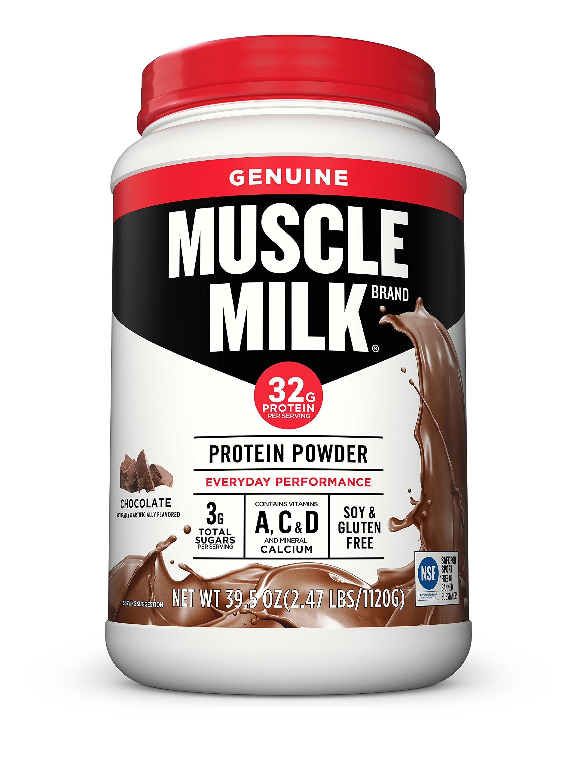 Muscle Milk Genuine Protein Powder, Chocolate, 32g Protein, 2.47 Pound (Packaging May Vary) by CytoSport