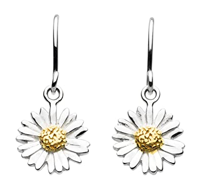 Dew Sterling Silver and Gold Plate Daisy Drop Earrings epTEkx