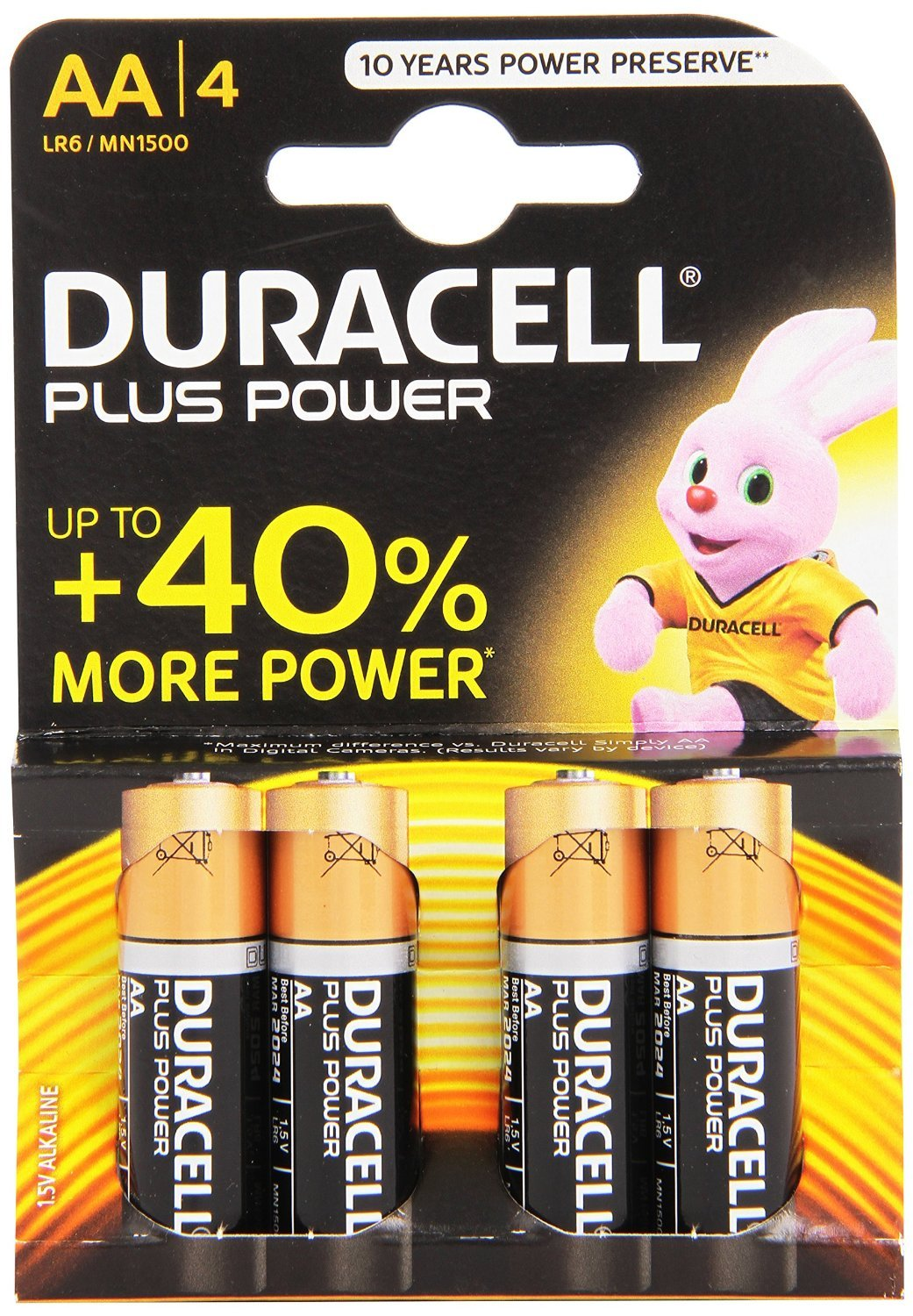 Duracell Plus power AA batteries pack of 4 - Great manufacturer Longer Lasting