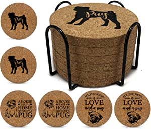 Onebttl 6PCS Dog Themed Coasters Pug Natural Cork Coasters Set with Metal Holder for Drinks Absorbent, Heat & Water Resistant, Perfect Presents for Dog Mom, Dog Lovers(3.9 3.9 0.35 Inch)