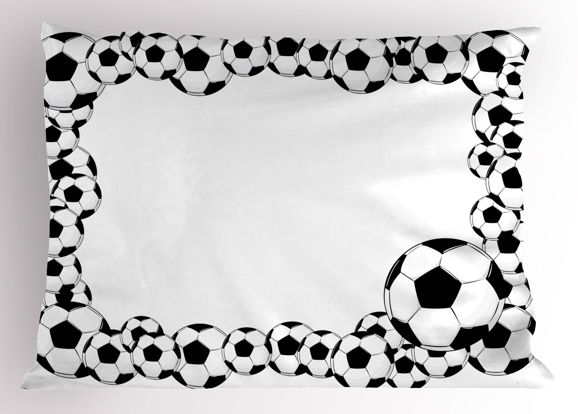 Ambesonne Soccer Pillow Sham, Monochrome Football Frame Pattern Abstract Illustration Playing Sports Game, Decorative Standard King Size Printed Pillowcase, 36 X 20 inches, White Charcoal Grey