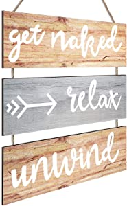 Jetec Rustic Get Naked Relax Unwind Arrow Signs, Wooden Funny Bathroom Wall Decor, Large Farmhouse Hanging Wall Sign for Bathroom Toilet Dressing Room (Classic Color)