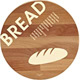 "Bisetti BT-26824""Bread"" Beech Wood Round Cutting Board, 11.8"", Brown"