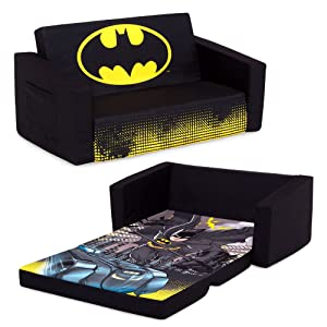Batman Cozee Flip-Out Sofa - 2-in-1 Convertible Sofa to Lounger for Kids by Delta Children