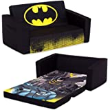Batman Cozee Flip-Out Sofa - 2-in-1 Convertible Sofa to Lounger for Kids by Delta Children, 15x30 Inch (Pack of 1)