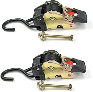 """2 Quick n Easy AutoRetract Strap Cargo Tie Downs   Retractable 1"""" x 6' Bolt-on Ratchet Straps w/S Hook for Trailers & Pickups"""
