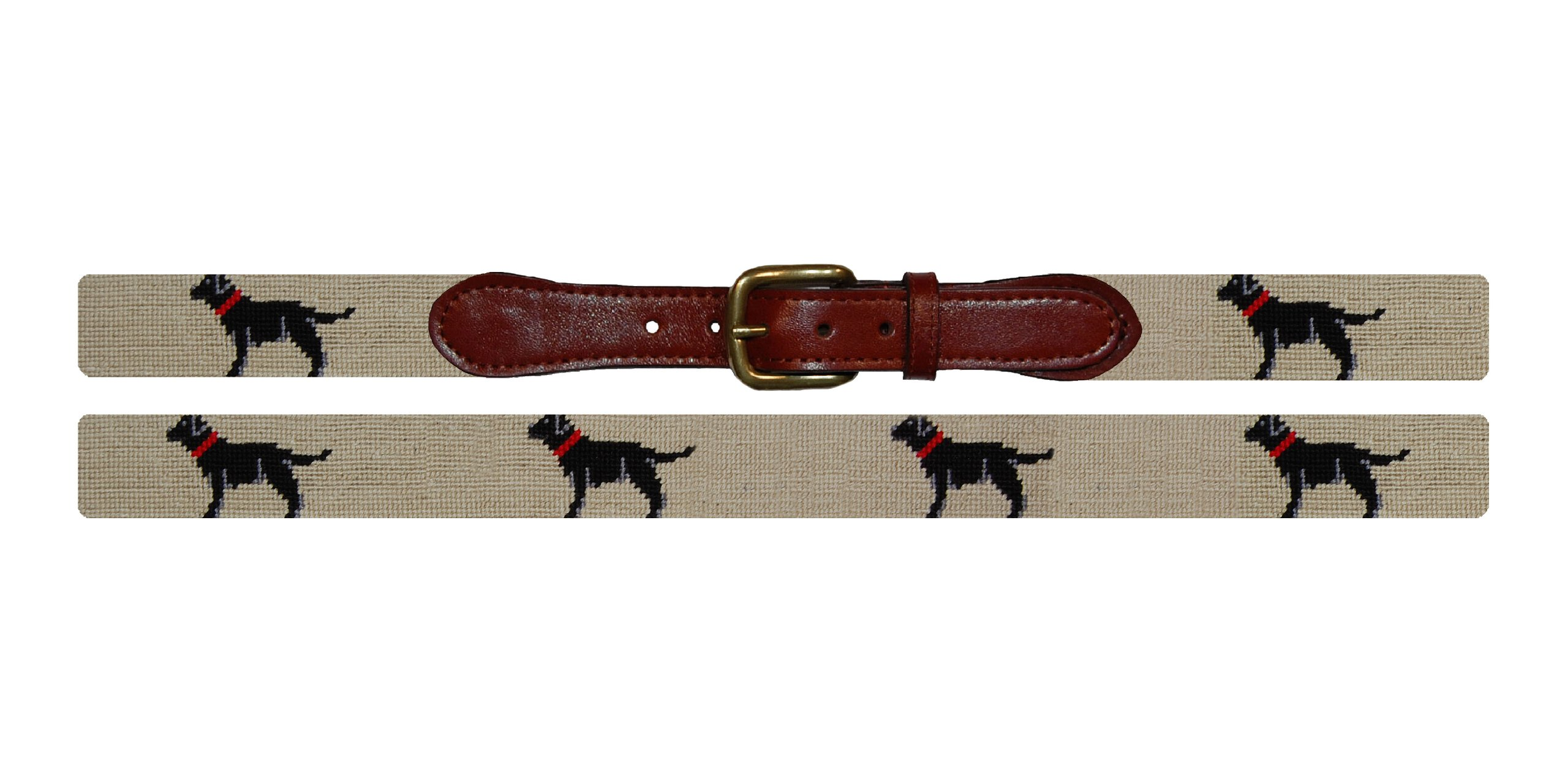 Smathers & Branson Black Lab Needlepoint Belt - Khaki, Size 42 (B-180-42)