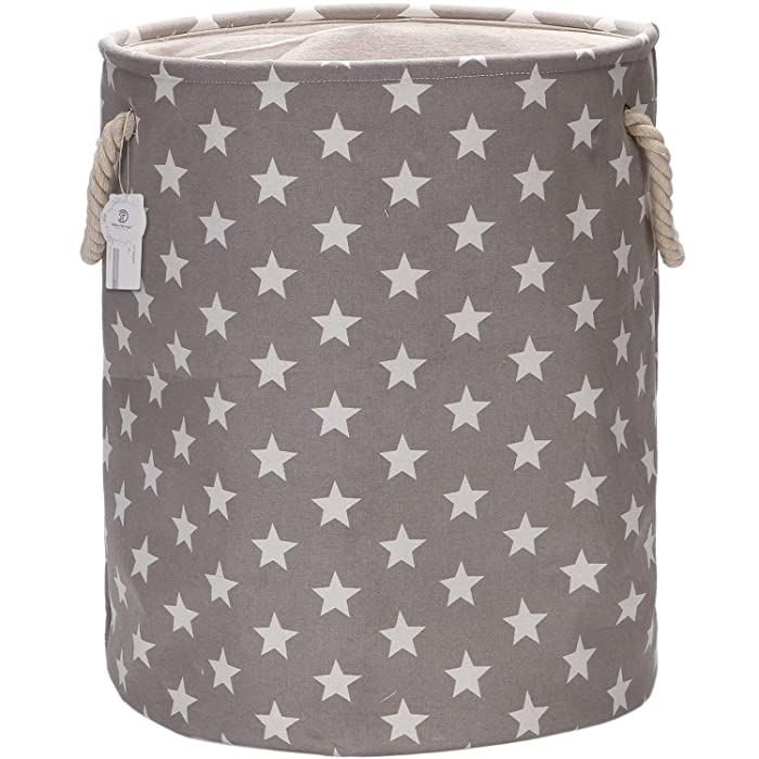 "Sea Team 19.7"" Large Size Stylish Star Design Canvas & Linen Fabric Laundry Hamper Storage Basket with Rope Handles, Grey"