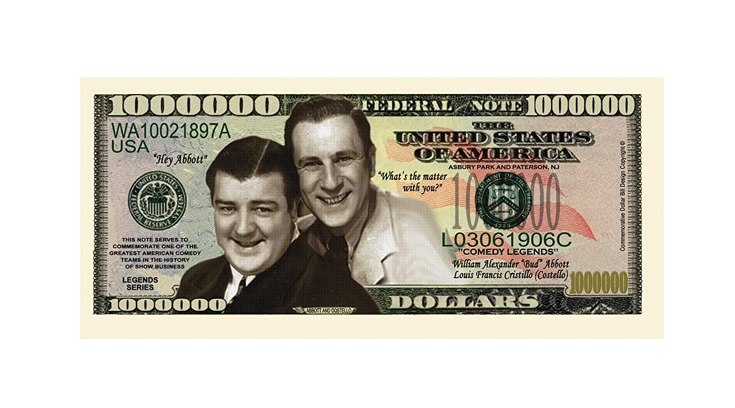 American Art Classics Abbott and Costello Million Dollar Bill Comes in Bill Protector for Fans of This Comedy Duo