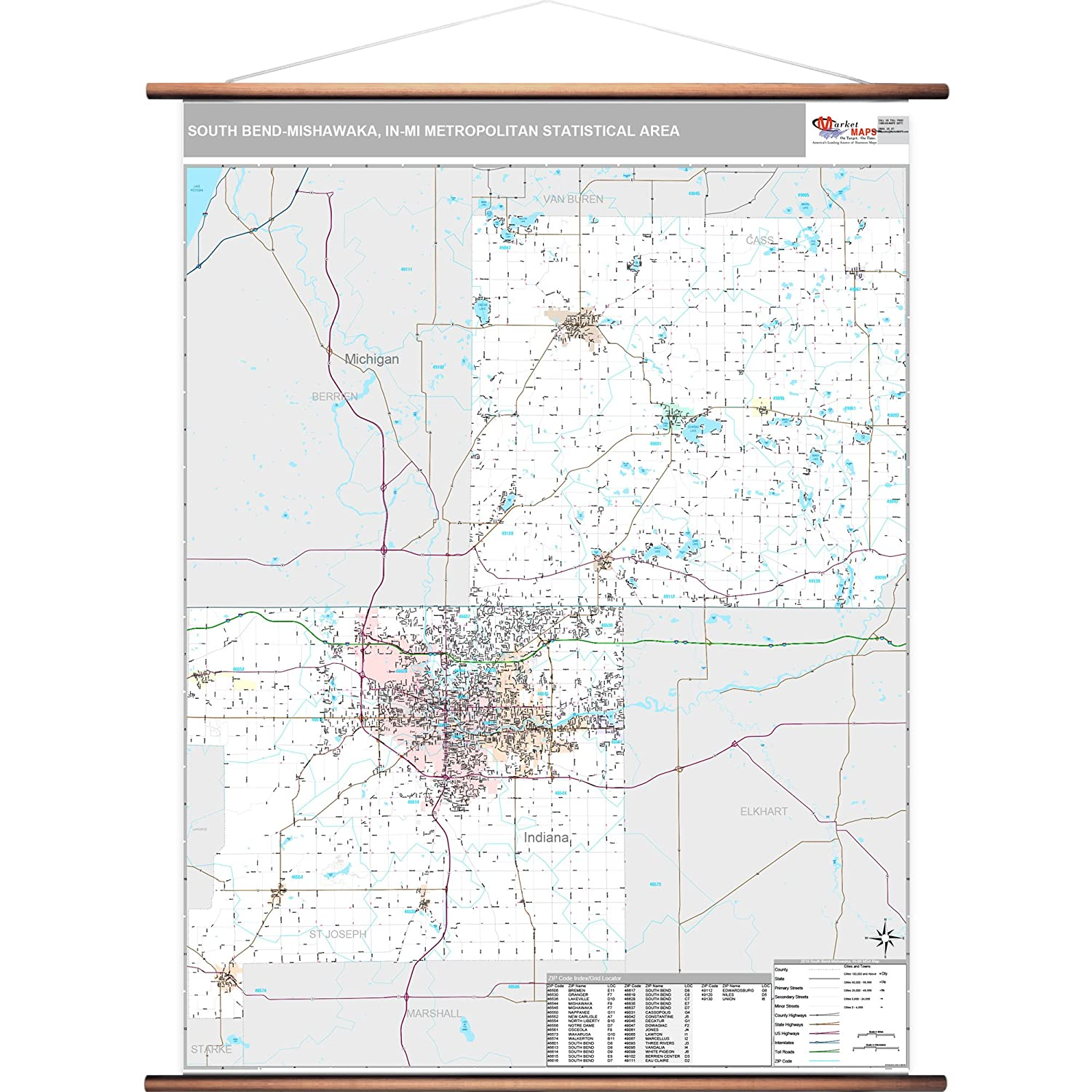 South Bend Indiana Zip Code Map.Amazon Com Marketmaps South Bend Mishawaka In Metro Area Wall Map