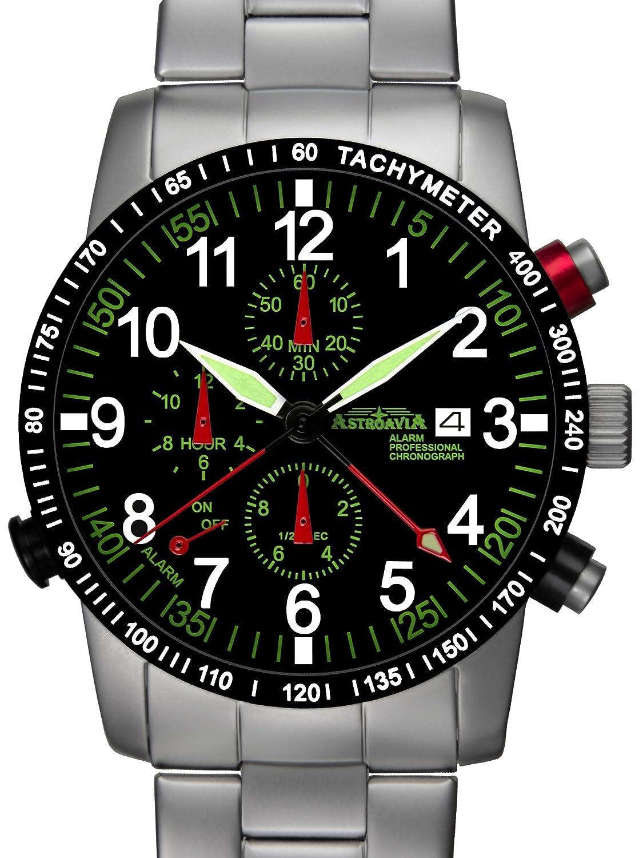 Astroavia Herren-Armbanduhr Alarm Chronograph Quarz Edelstahl R87S
