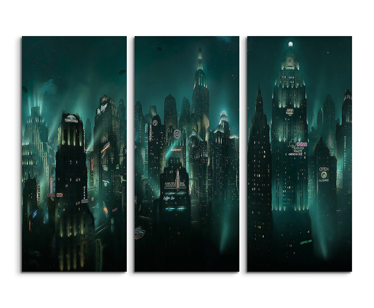 Canvas picture print on canvas set of 3 bioshock rapture total 120 fine art print on real canvas as a wall picture with stretcher frame