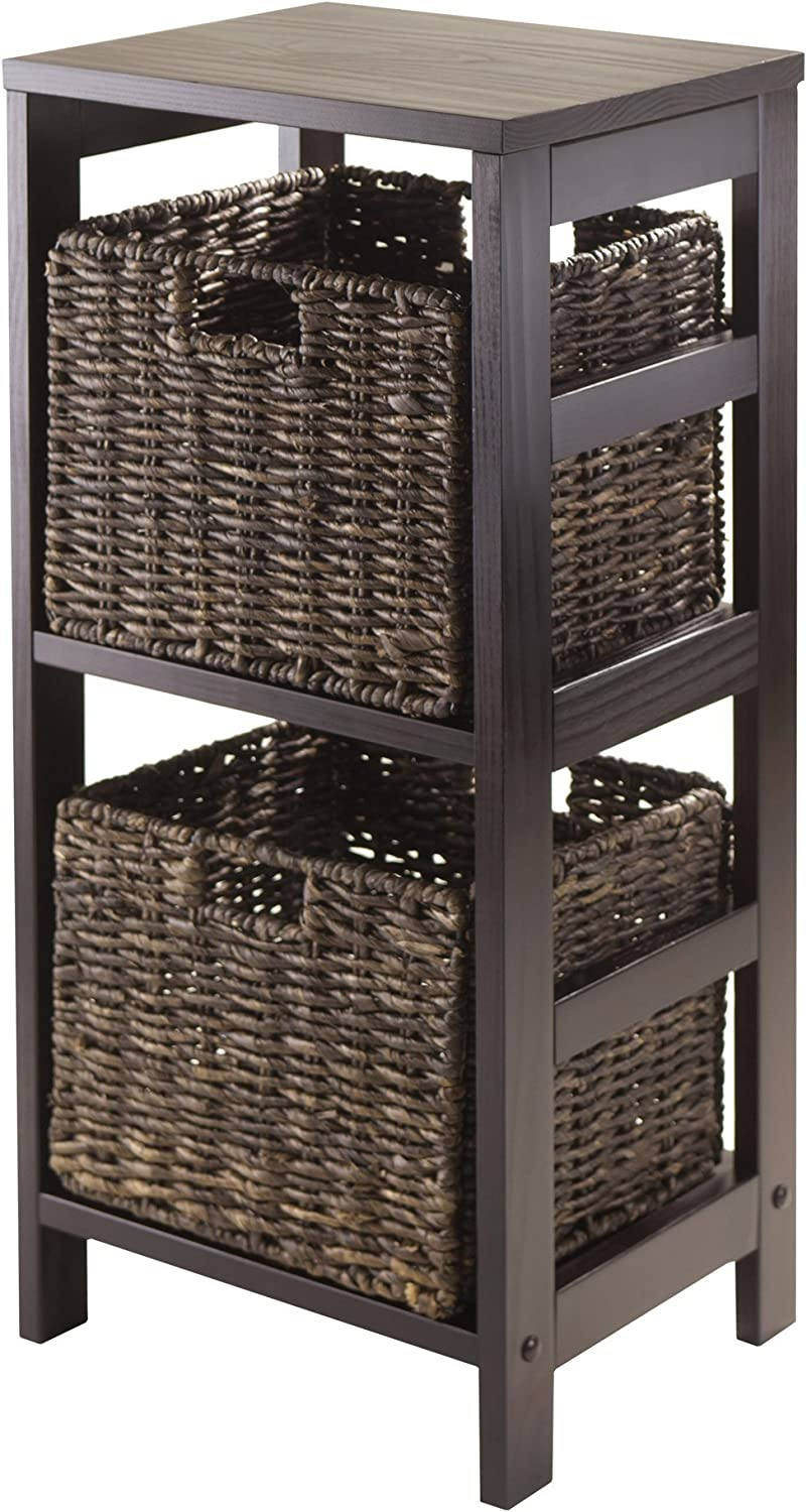 Winsome Granville 3 Piece Storage Shelf With 2 Foldable Baskets Espresso Home Kitchen Amazon Com