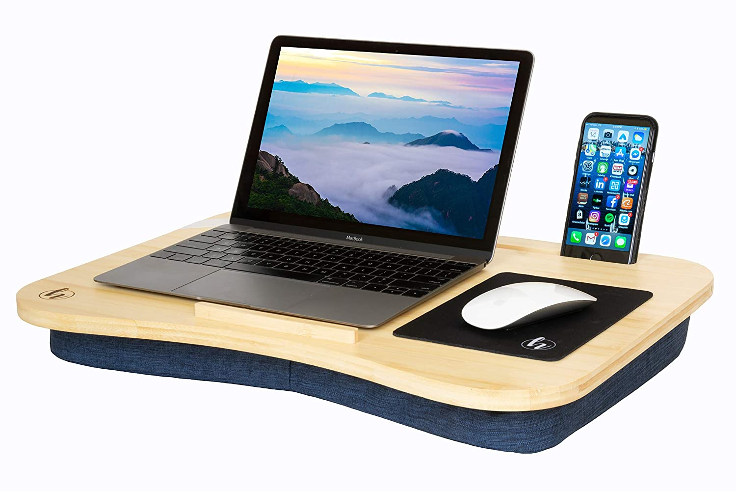 "Lap Desk by Hultzzzy - Large 100% Natural Bamboo Surface - Fits up to 17 Inch Laptops - 15"" Tablets - Pen & Phone Holder - Cushion Foundation"