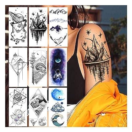 LAROI 9 Hojas Mujer Tatuaje Temporal Montaña Negro Pegatinas ...