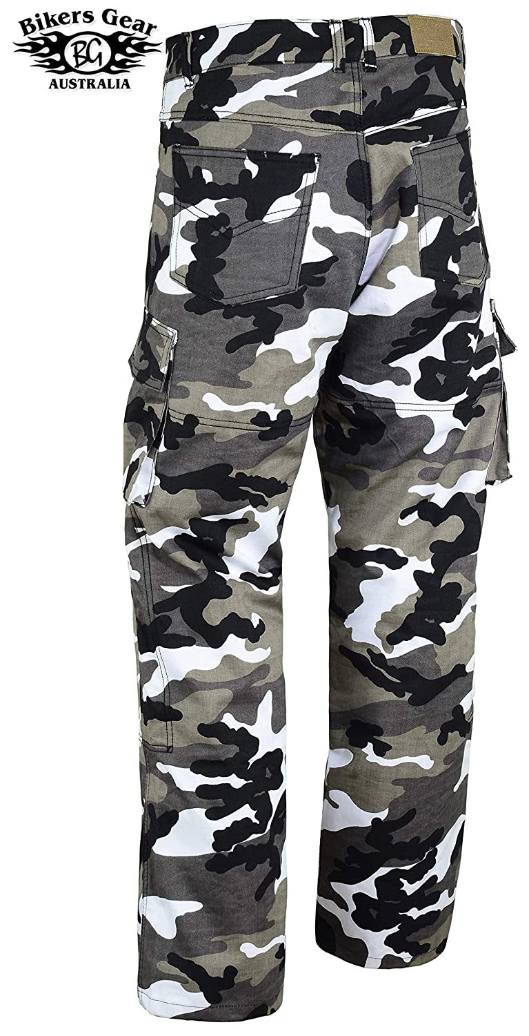 Bikers Gear Australia New Ladies Kevlar Lined Grey Camo Motorcycle Cargo Jeans with CE1621-1 Armour UK 24R EU 5XL
