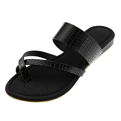 3f9352ddc Womens Flip Flops Criss Cross Strappy Faux Leather Beach Sandals Summer  Flats Shoes