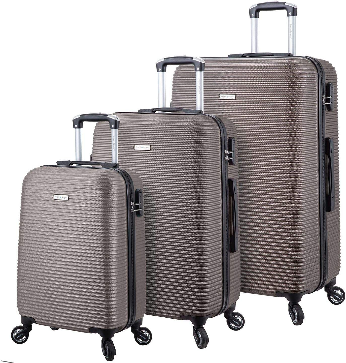 Regent Square Travel – Luggage Set Anti-Scratch Texture Hard Shell With Spinner Silent Goodyear Wheels And Integrated Lock – Set of 3 Pieces – Hard Case – Cool Grey