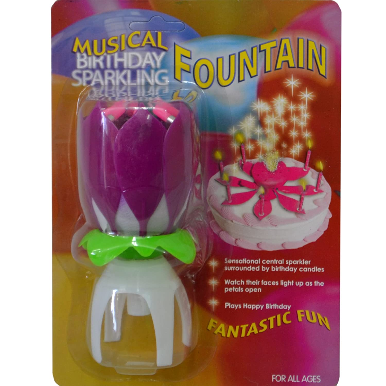 High Quality Musical Birthday Sparkling Fountain Party Candle In Purple Amazoncouk Toys Games