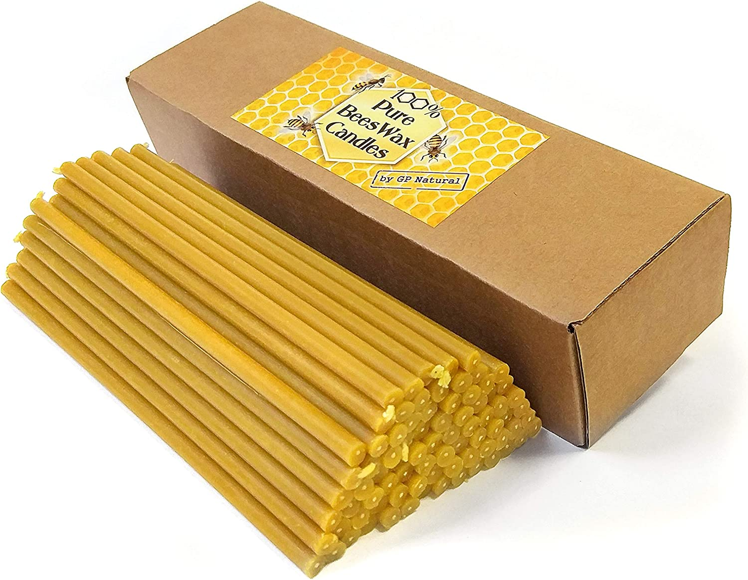 30pcs Natural Pure Beeswax Candles Organic Honey Eco Black Color Candles in Gift Box Black 8 Inches Natural Cotton Wicks, Dripless, Smokeless, Not Taper Candles 20 cm