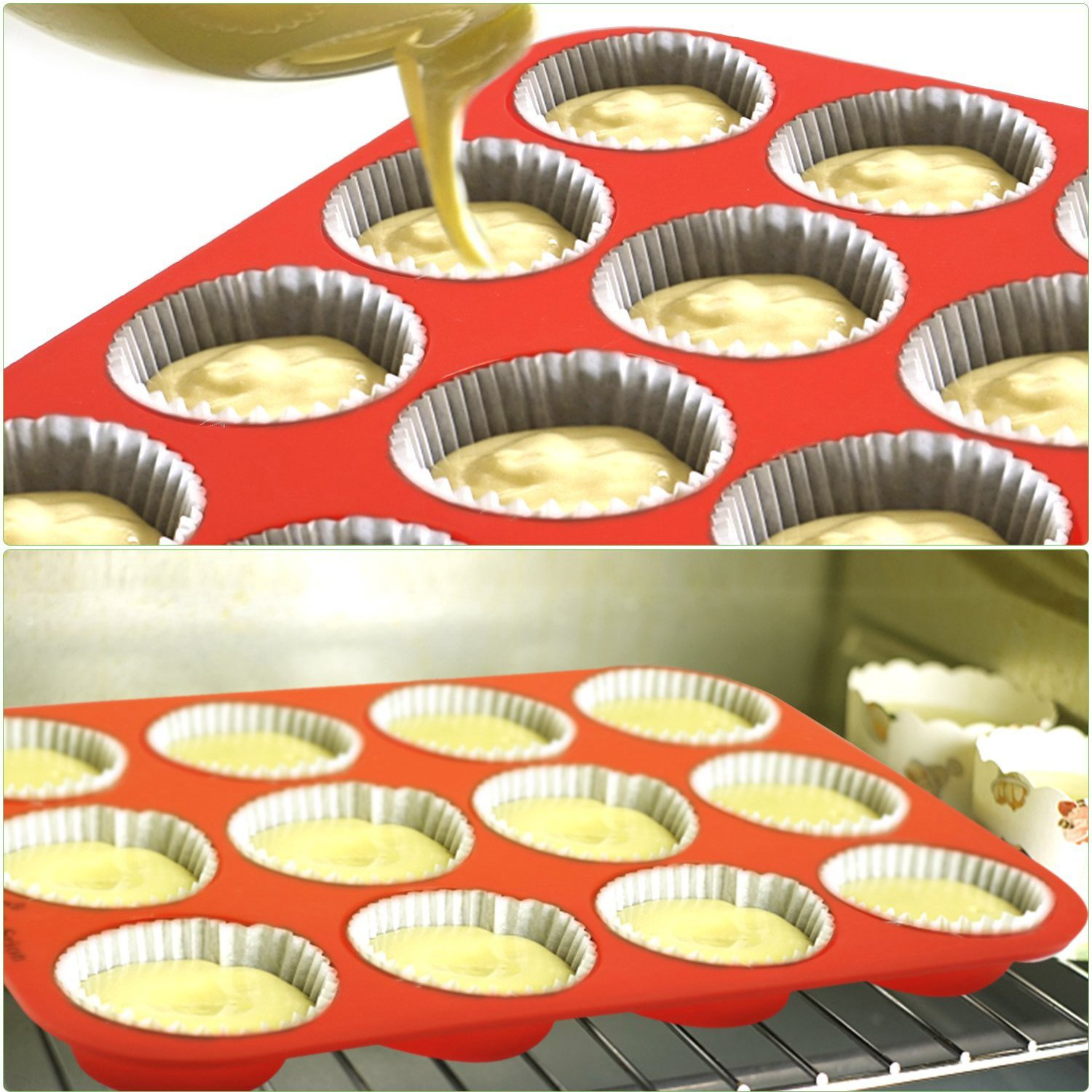 FITNATE Bakeware Silicone Muffin Pan 12 Cup, BPA-free, Non Stick by FITNATE (Image #4)