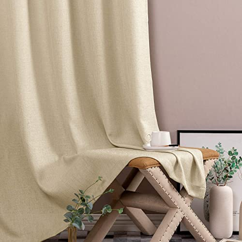 jinchan Semi Sheer Curtains for Living Room 90 Inches Long Casual Weave Voile Curtain Panels for Bedroom Window Treatment 2 Panels Beige