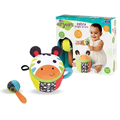 Earlyears Zebra Jingle Drum – Soft, Plush Drum and Stick with Jingle and Rattle Sounds: Toys & Games