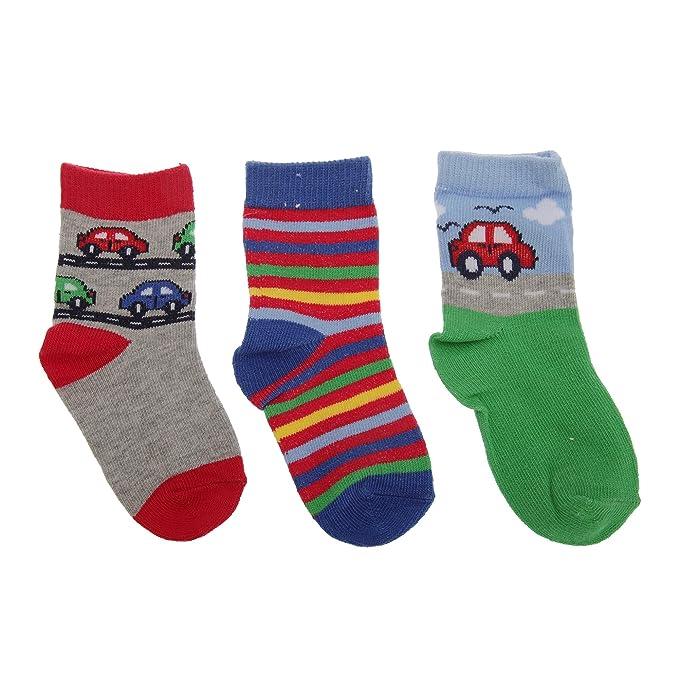 Calcetines estampados de coches/rayas para niños bebé (pack de 3) (0