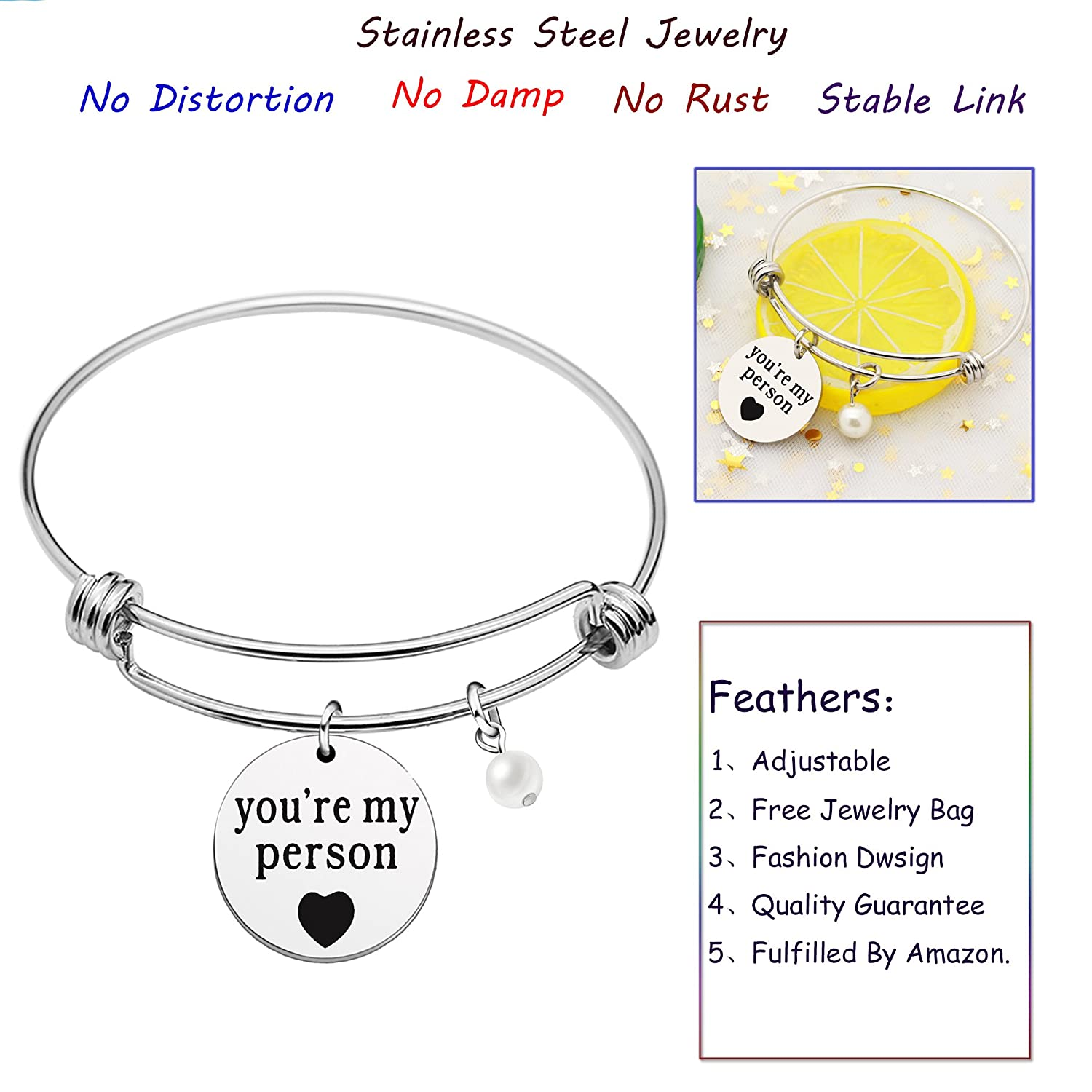 Inspirational Bangle You are My Person Pearl Gifts for Girlfriend Best Friend Valentine Day Jewelry AGR8T A0285BG