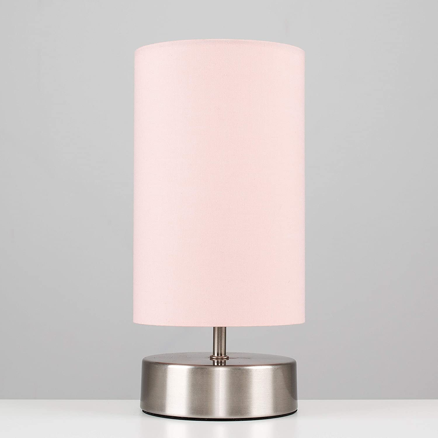 Pair of Modern Chrome Touch Dimmer Bedside Table Lamps with Pink Cylinder Light Shades