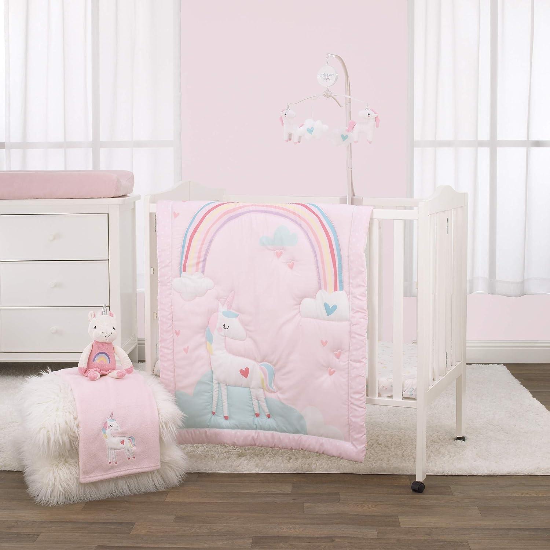 NoJo 3 Piece Mini Crib Bedding Set, Rainbow Unicorn, Pink/Aqua/Yellow/White