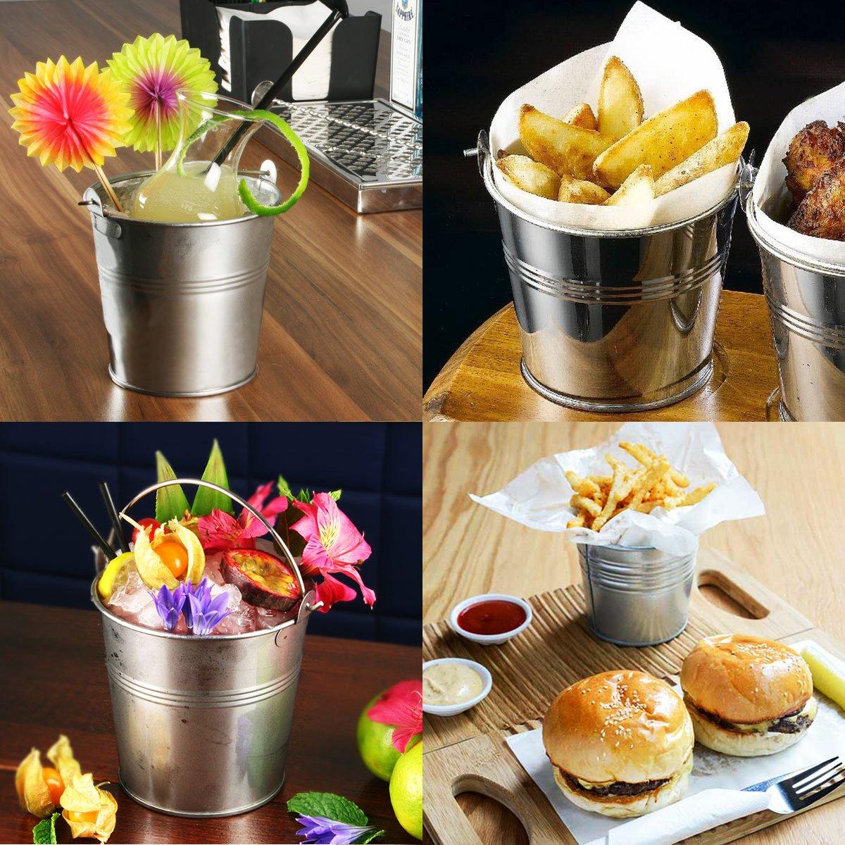 OUNONA Mini Metal Bucket Set of 6 /Mini Food Containers/Succulent Wedding Buckets 10.5x7.2x10.5cm by OUNONA (Image #6)