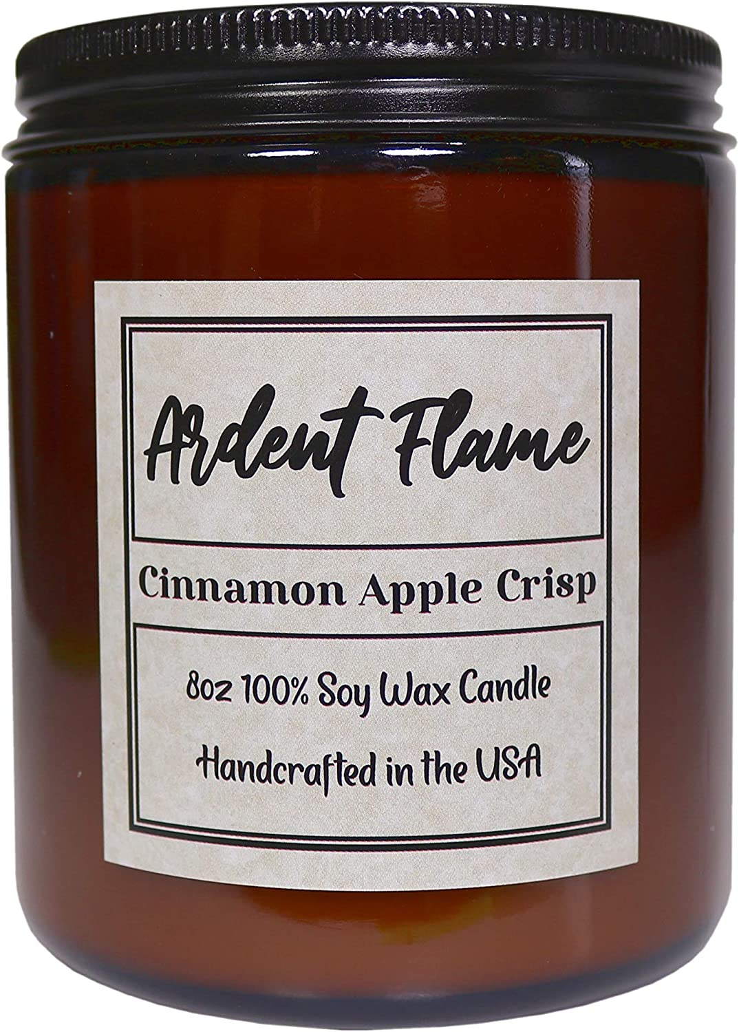 Ardent Flame Candles | Cinnamon Apple Crisp | 100% Natural Soy Wax Candle for Home Decor | Highly Scented | Premium Fragrance | Handmade in The USA | 8 oz | Long Lasting | Gift for Women and Men