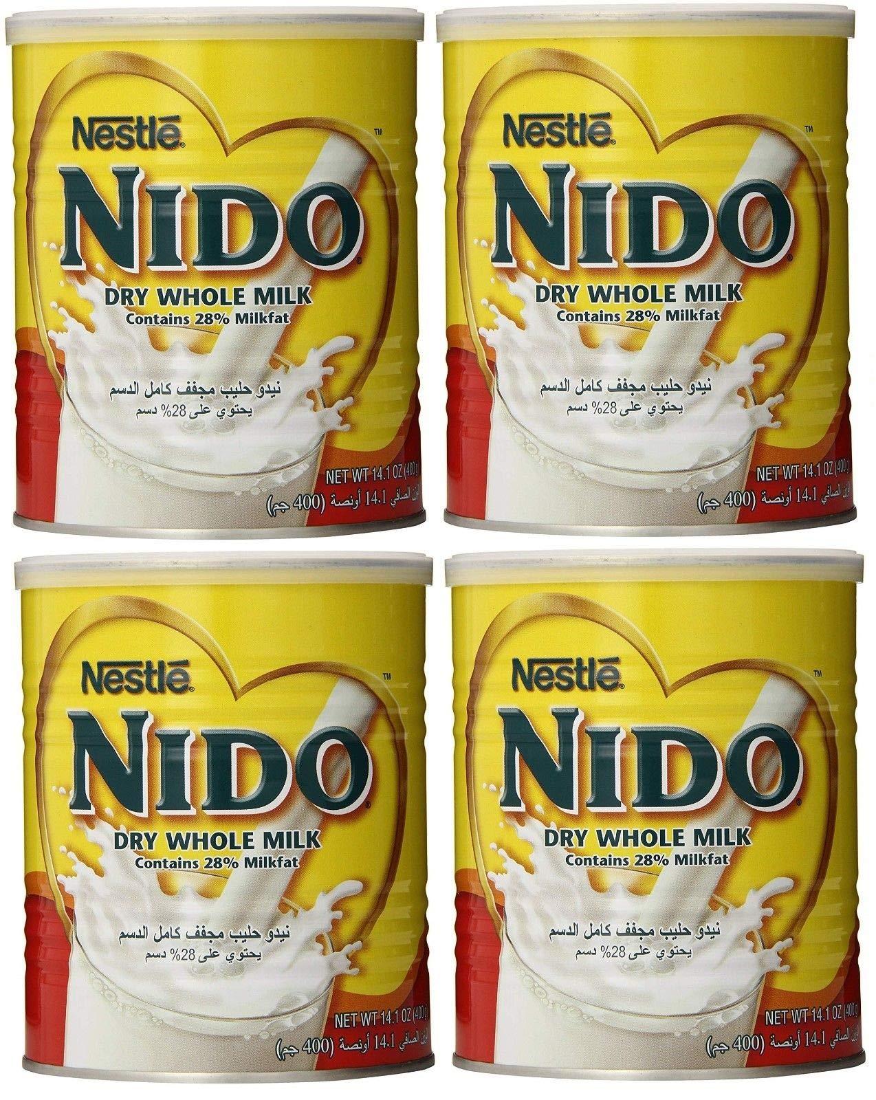 Nido Dry Whole Powder Milk by Nestle - 4 Cans - 400Gr - نيدو حليب مجفف كامل الدسم