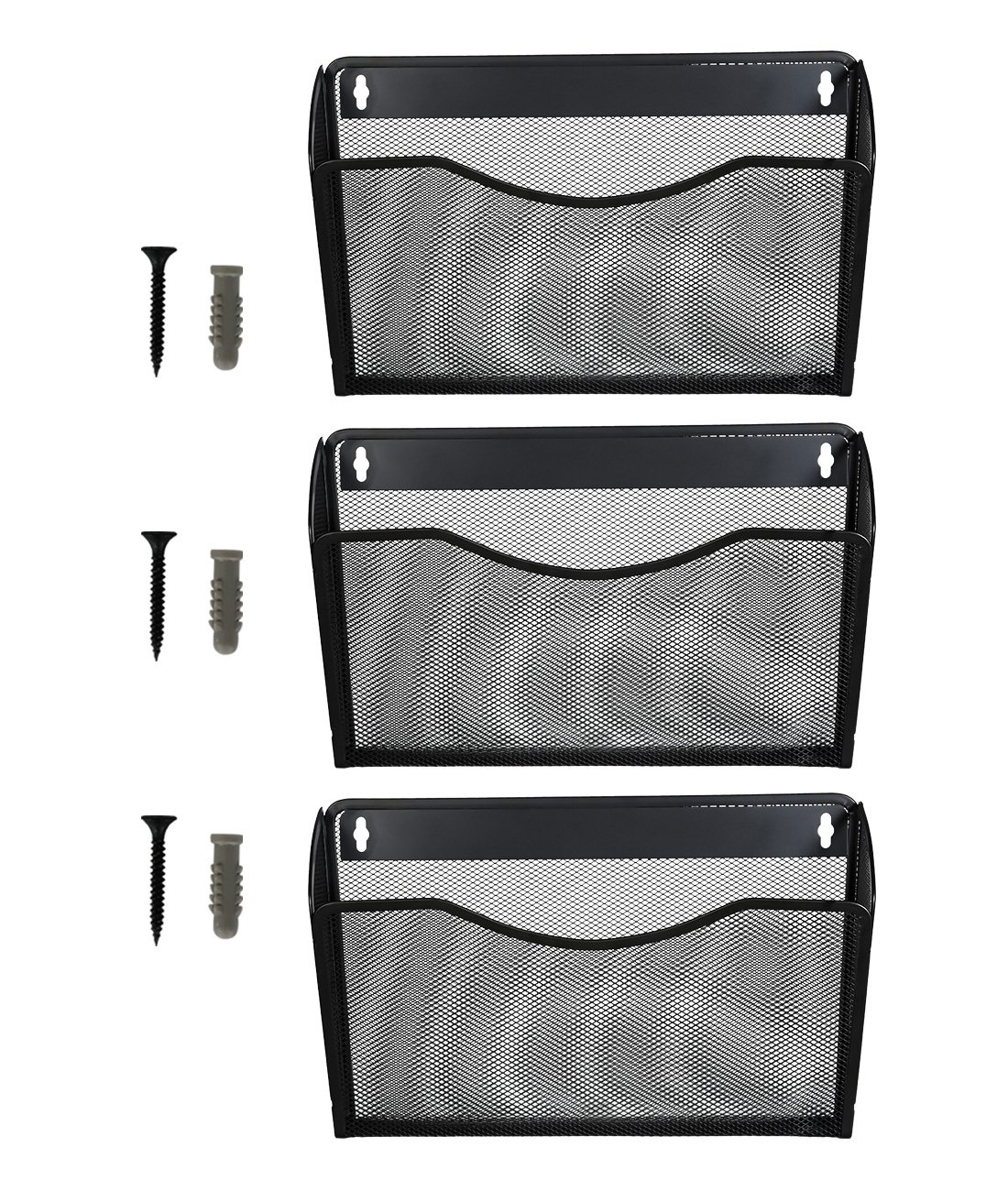 Superbpag 3 Pocket Hanging Wall File Holder Organizer Magazine Rack, Black York HSBG-3