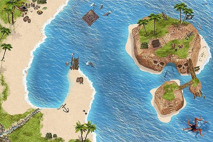 Pirata   Isla de los Piratas   Isla del tesoro alfombra infantil de juego   SM06   De buena calidad para el cuarto de los niños   Tamaño: 150 x 100 cm  